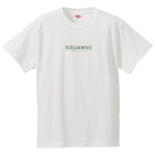 YOGNWVS 刺繍 半袖TEE (Dark Green on White)
