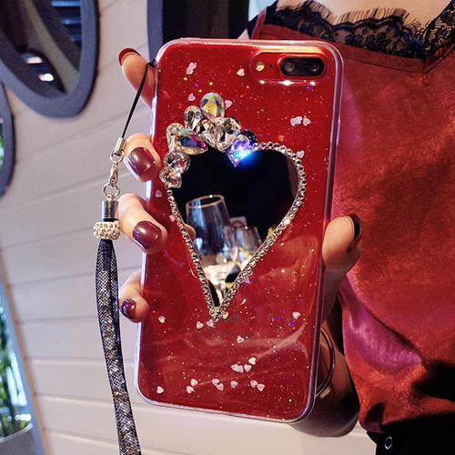 iPhoneケース 人気 女性 ミラー付き 鏡 ハート スタッズ グリッター 韓国 海外セレブ
