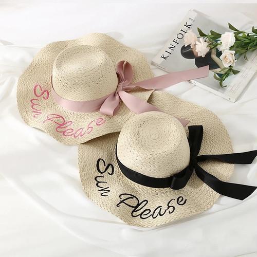 刺繍ロゴ入りストローハット リボン付き 麦わら帽子 全2色