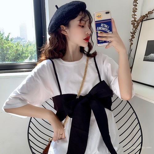 【セットアップ】ファッション若見えスウィート細見せ半袖Tシャツ+チョッキ2点セットアップ