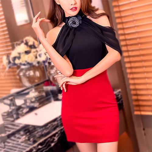 シフォンスリーブバイカラーストレッチタイトミニドレス 黒赤