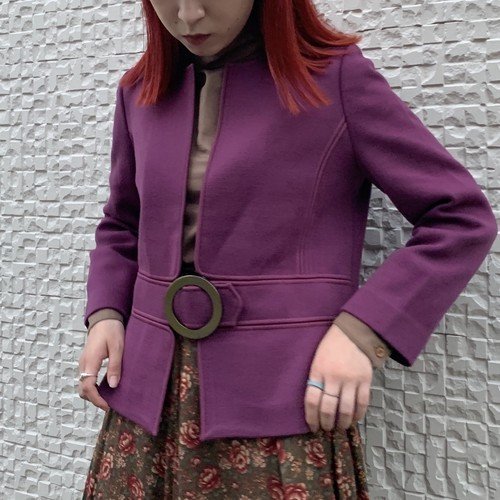 (LOOK) design buckle no collar jacket
