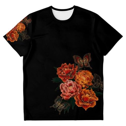 和風芍薬牡丹 ユニセックスTシャツ