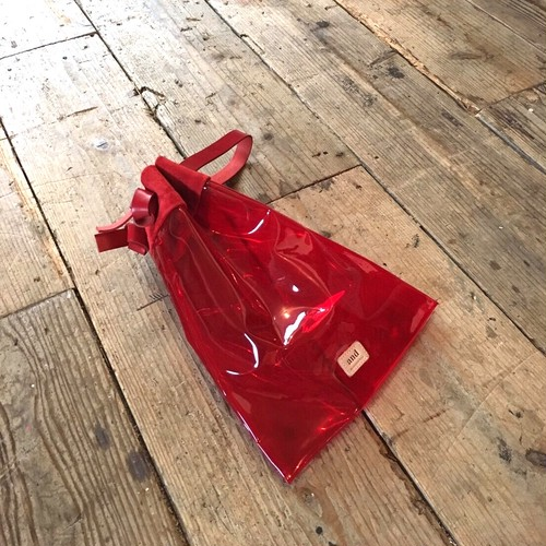 Flat Drawstring Bag 《pvc red》