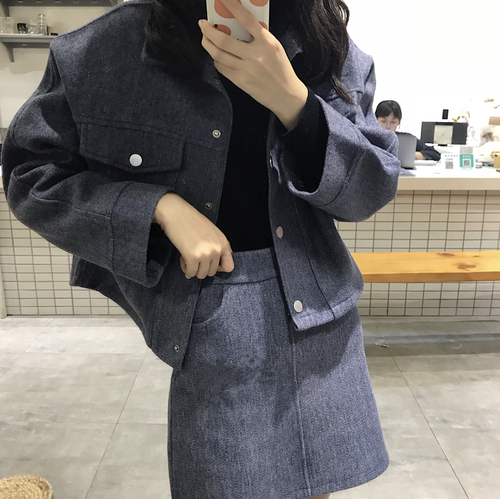 【即納♡】ウールショートジャケット+スカート 7937