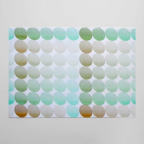 リソグラフパターンペーパー[ファンタスティックマメ] Peppermint Green × Ocher