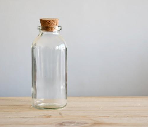 【ガラス容器】ボトル瓶ロング コルク栓付(直径48mm x h110mm)