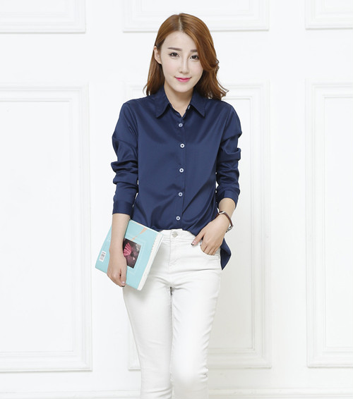 【S~XL】ブルー◎大人かわいいシャツ・ブラウス◎オールシーズンで通勤通学・就活にも!