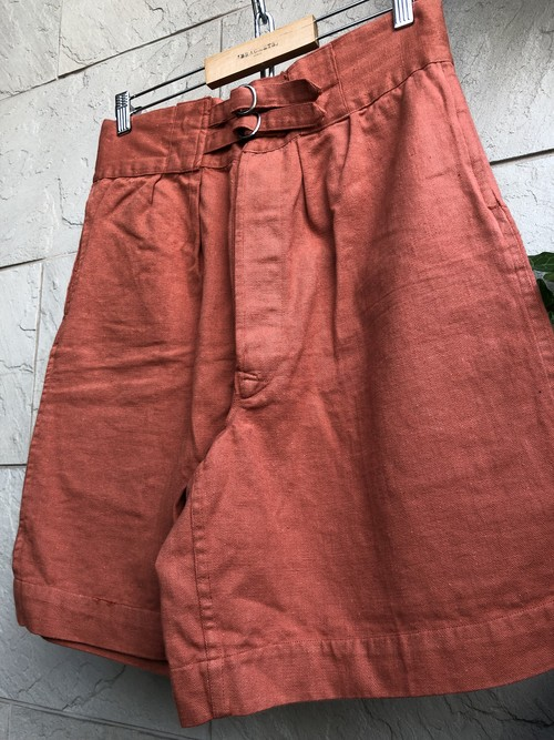 1960s British double strap cotton shorts overdyed brick color