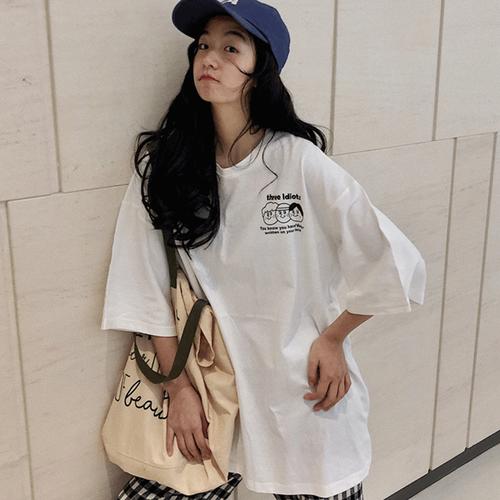 【トップス】シンプルカジュアルカートゥーン着心地いい学園風半袖Tシャツ