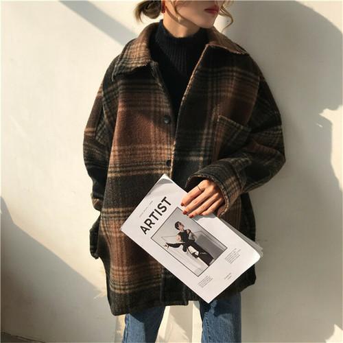 チェック柄 シャツ ゆったり オーバーサイズ 秋 冬 カジュアル 2色 ブラウン ブラック レディース ファッション 韓国 オルチャン