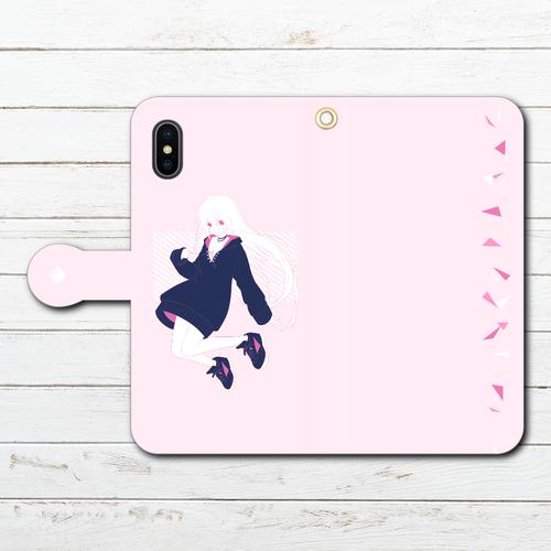 #085-005 iPhoneケース スマホケース 手帳型 全機種対応 おしゃれ 女の子 イラスト ピンク iPhoneXS/X Xperia iPhone5/6/6s/7/8 ケース かわいい Galaxy ARROWS AQUOS HUAWEI Zenfone タイトル:pink 作:灰染せんり