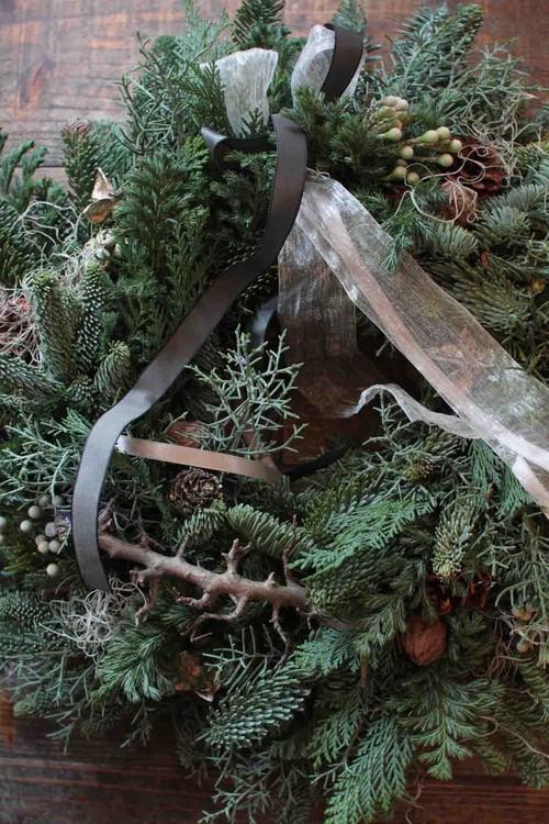 クリスマスリースL~森薫るフレッシュグリーンリース緑