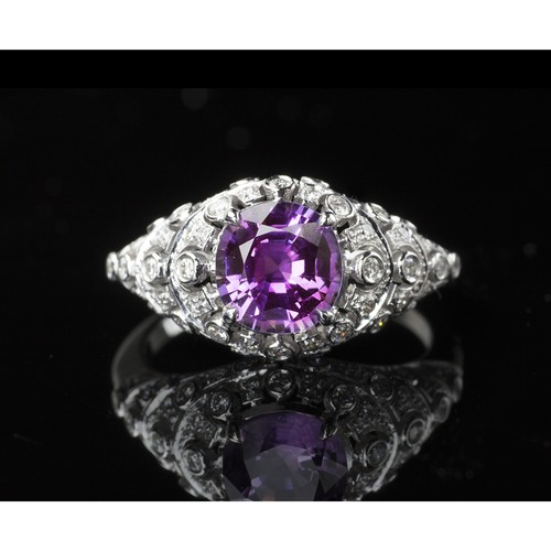 1.61ct No-heat Purple Sapphire Ring