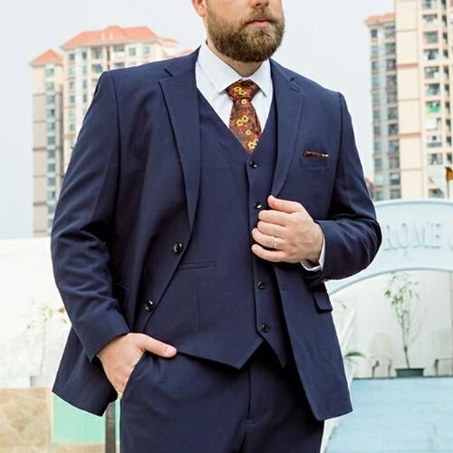 送料無料メンズ大きいサイズスーツセットアップ青黒ジャケット+パンツXL~9XL