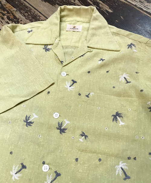 Vintage ARROW ヤシの木 S/S Shirts S MADE IN USA