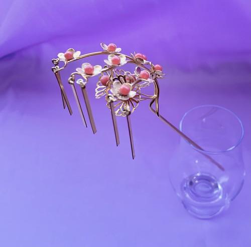 〈アンティークのびら簪〉びらかん かんざし 和小物 和装 成人式 大正ロマン 珊瑚風