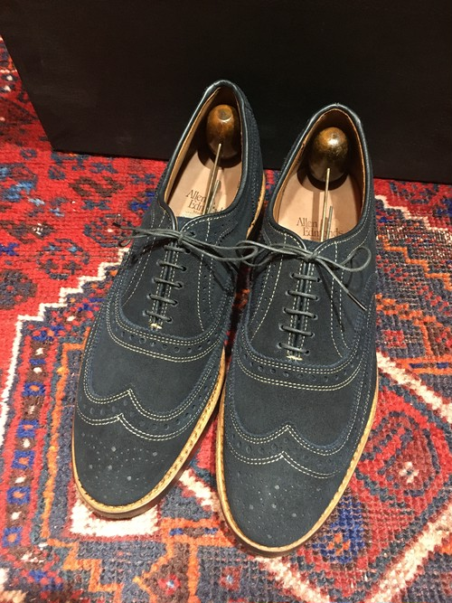 .ALLEN EDMONDS SPIAGGIA BLUE SUEDE LEATHER WING TIP SHOES MADE IN USA/アレンエドモンズブルースウェードレザーウィングチップシューズ 2000000032542