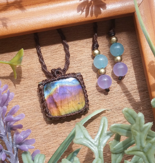 Rainbow Ombre Labradorite Necklace