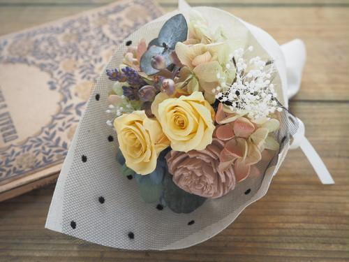 Petit Bouquet<Jaune mimosa> * プリザーブドフラワー 春色アンティーク ミニブーケ・壁飾り