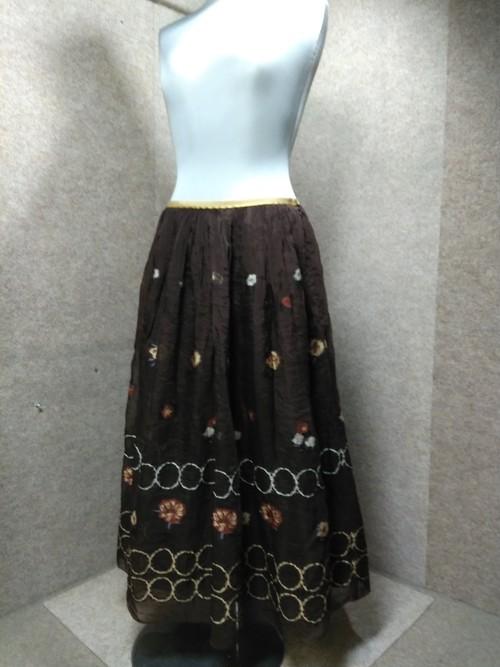 ロイスクレヨン オーガンジー 刺繍 ロングスカート M ブラウン mu921e