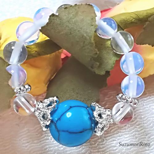【リング】天然石パワーストーンリング(指輪)-ブルーターコイズ・水晶-(ring-003)