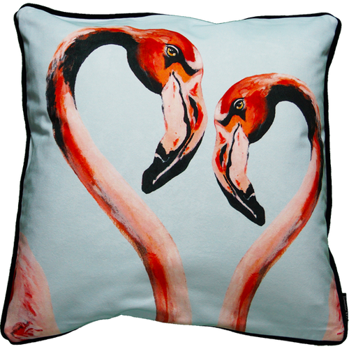 Jimmie Martin Cushions Blue double flamingo