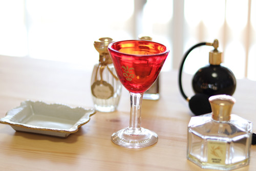 オリジナル琉球ガラス:ワイングラスecole de danceレッド#6