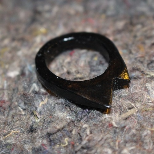 Leaher Pyramid ▲▴ Ring Black