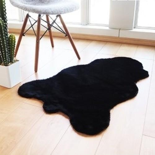 フェイクファー ミンクタッチ ラグマット/絨毯 【約60×90cm クラウド ブラック】 フェイクファーマット 高密度