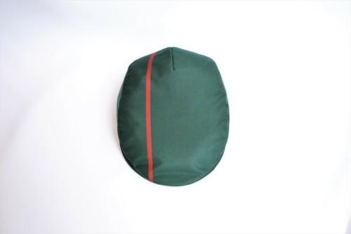 大島紬ハンチング:緑に赤いライン 大島紬/着物リメイク/国内送料無料/2営業日以内発送 1906h16
