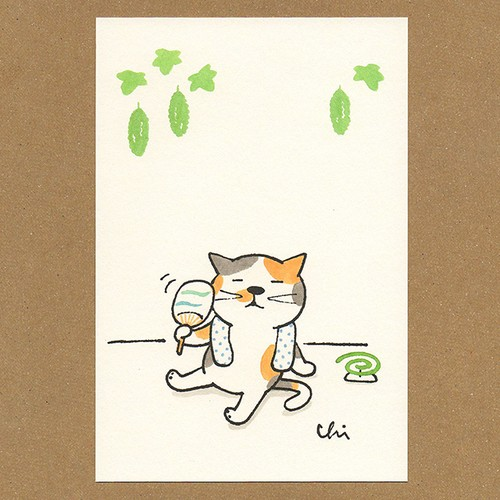 夏ねこポストカード うちわ[NNPC-02]
