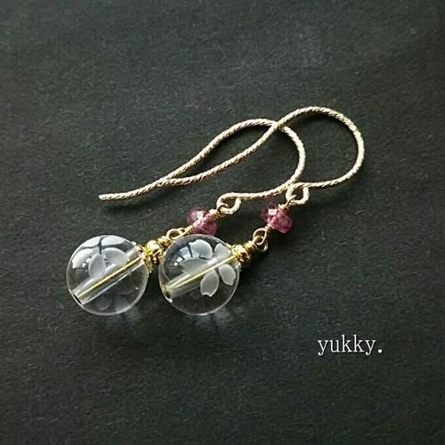 crystal桜*水晶*宝石質ピンクトルマリン(ボタン)14Kgfピアス/イヤリング