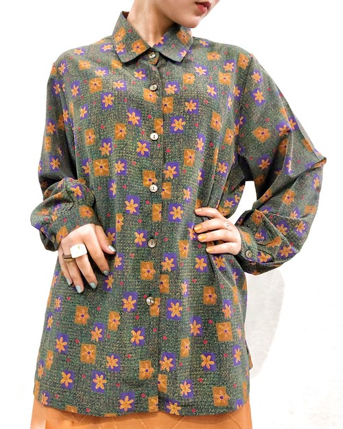 (PAL) flower pattern l/s shirt