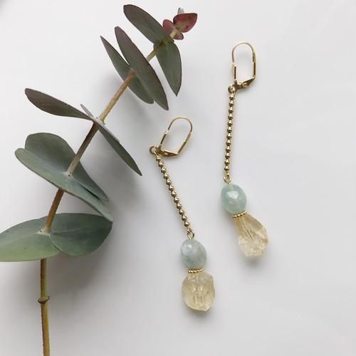 Citrine × aquamarine pierce / earring