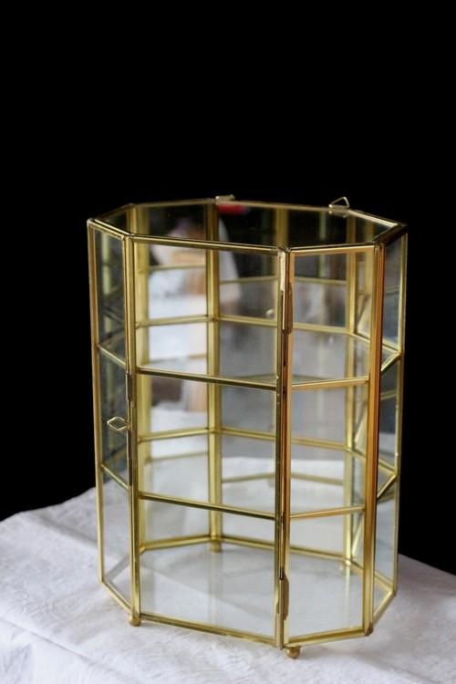 イギリス 真鍮製 ガラスジュエリーボックス ジュエリーケース 3段