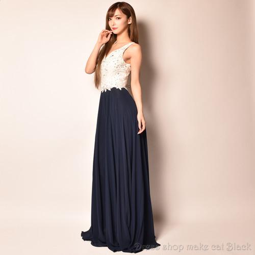 (S,Mサイズ) 3色展開ロングドレス パーティードレス 女子会 二次会 D-4838