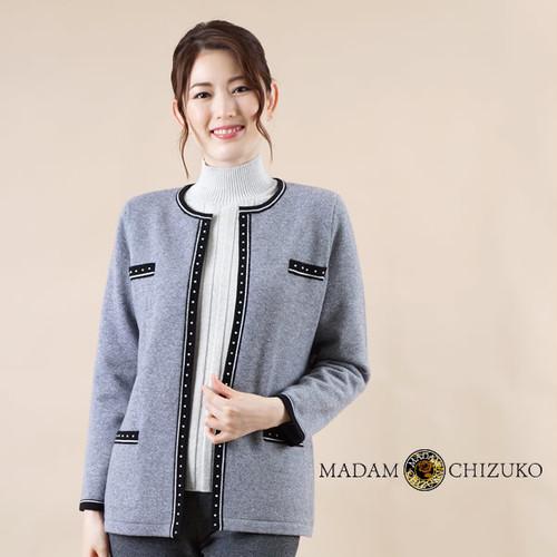 MADAM CHIZUKO /シャネルタイプノーカラージャケット / カシミヤ100%(イタリア糸使用)