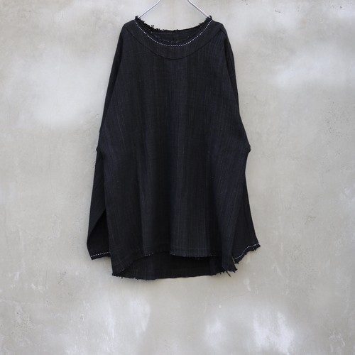 "YANTOR "" Tsumugi Cotton Stitch Pullover "" Black"