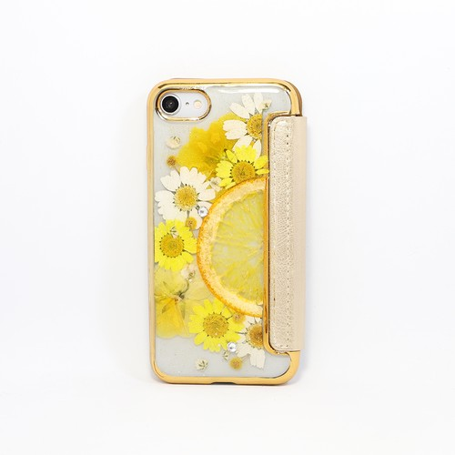 【手帳型:7/8/SE2対応】押し花 iPhone case