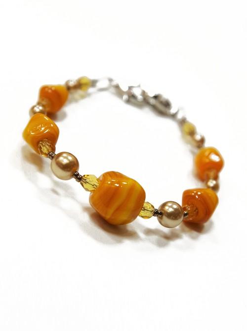 イタリアンガラス羽織紐 オレンジ レディース 洒落用 通年 ブレスレット