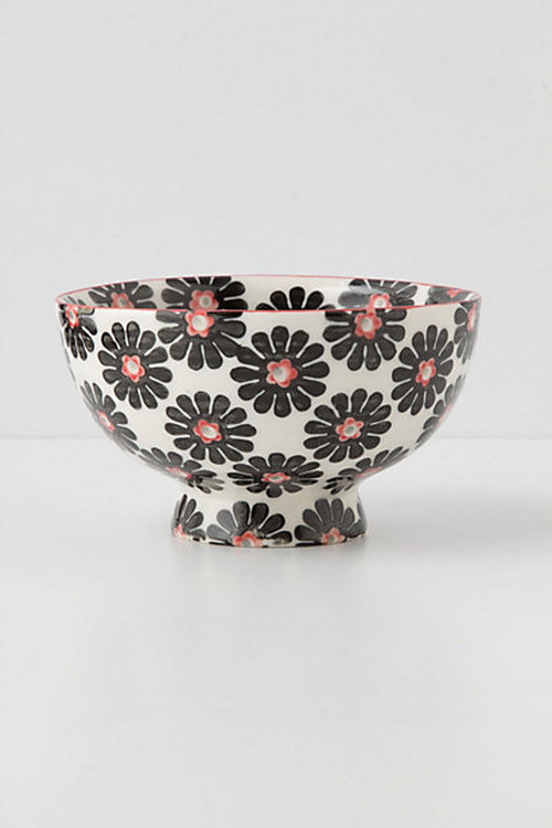 ANTHROPOLOGIE //  茶碗bowl -flower black