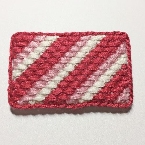 刺繍ブローチ ピンクストライプ