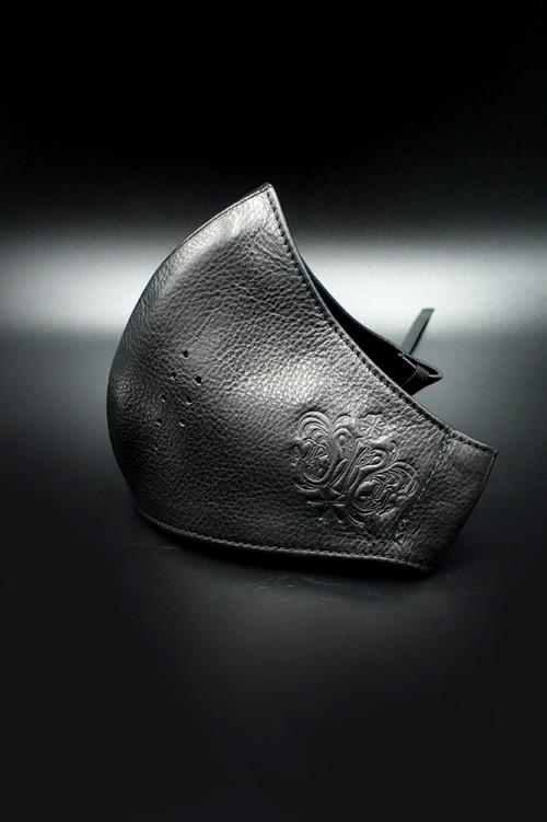 Item No.0395:RH Smooth Back Leather Surgical Mask/Atelier mark/BLACK