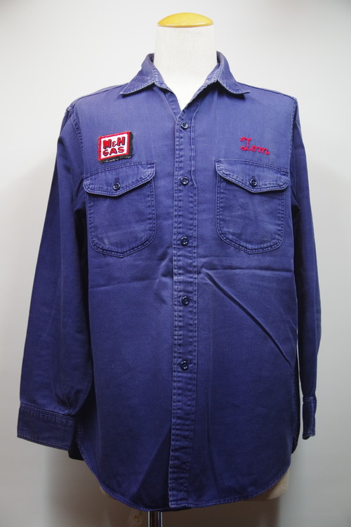 50's Lee M&H GAS Cotton Work Shirts(紺,マチ付き)
