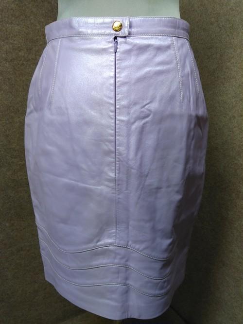 ESCADA エスカーダ レザー 革 スカート 36 ラベンダー mu944c