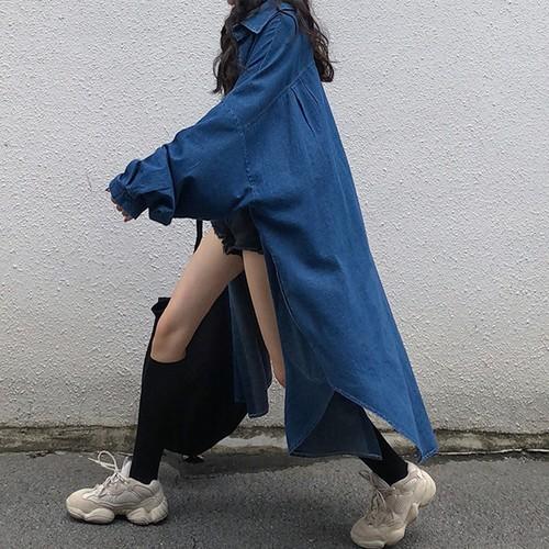 【お取り寄せ】 デニムガウンコート ロング ロングシャツ オーバーサイズ