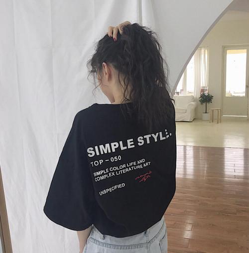 3色 Tシャツ トップス バックロゴ 半袖 ストリート カジュアル 韓国 オルチャン ファッション