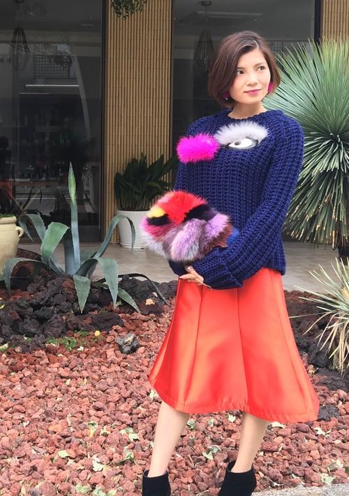 オレンジサテンスカート 1-154
