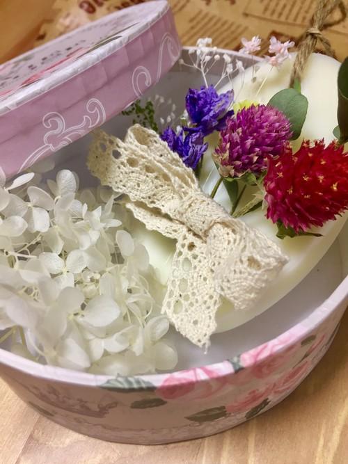 香りが選べるアロマワックスバー 【オーバル型 ホワイト ブーケ風】
